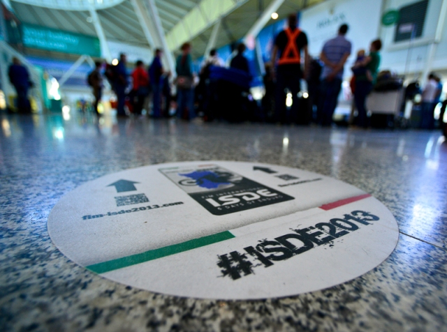 "Most of the US ISDE team arrived earlier this week at the Olbia, Italy, airport, where they were greeted ""Welcome"" signs and short lines."