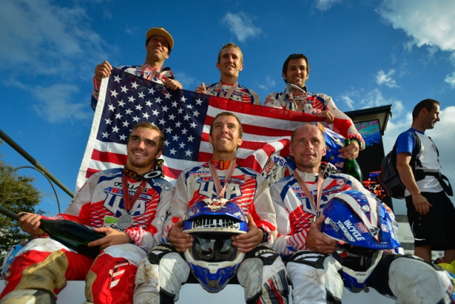 Second-place finishing U.S. Trophy Team riders. Front row (L-R): Zach Osborne, Charlie Mullins, Mike Brown. Second row (L-R): Kurt Caselli, Taylor Robert, Thad Duvall.