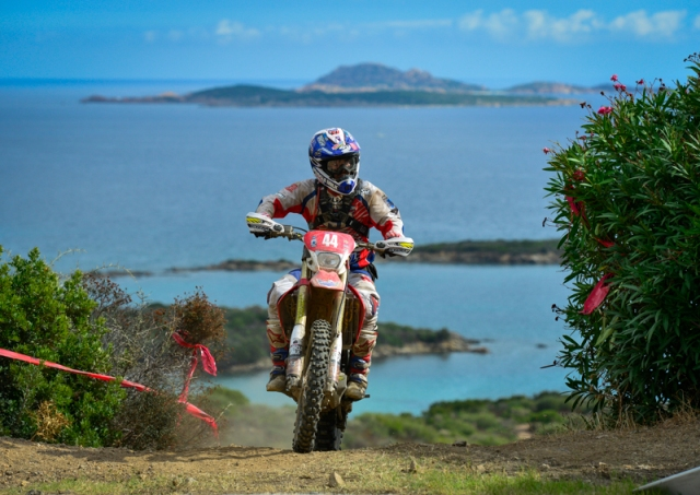 US Trophy Team rider Zach Osborne rides down a transfer section during Day-three of the International Six Days Enduro in Olbia, Italy.